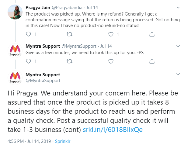 Examples of Real-Time Responses by Myntra Support