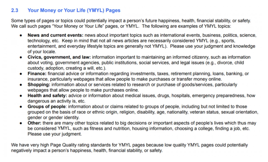 Your Money or Your Life (YMYL) Page