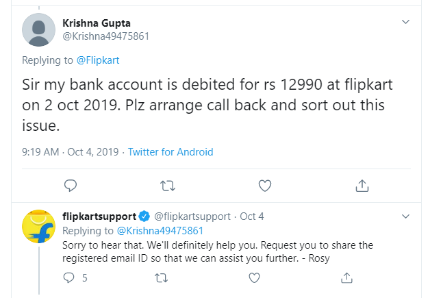 Examples of Real-Time Responses by Flipkart Support