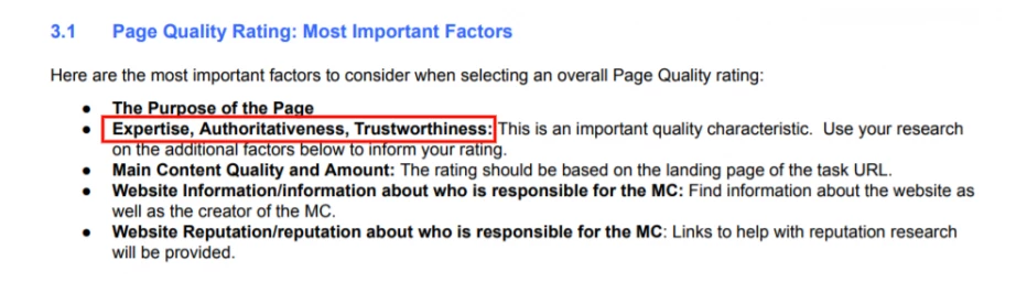 Important Factors of Page Quality Rating
